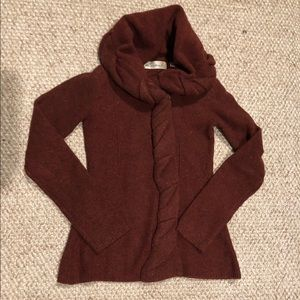 Anthropologie Braided Maroon Sweater XS